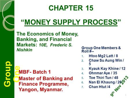 "CHAPTER 15 ""MONEY SUPPLY PROCESS"" Group One Group One Members & Roll #--  Htoo Mg2 Latt / 8  Chaw Su Aung Win / 5  Kyauk Kay Khine / 12  Ohnmar."