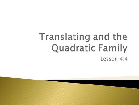 Translating and the Quadratic Family