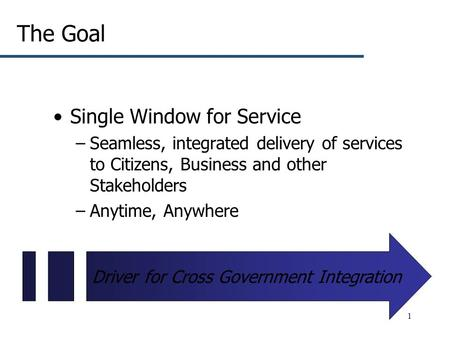 1 The Goal Single Window for Service –Seamless, integrated delivery of services to Citizens, Business and other Stakeholders –Anytime, Anywhere Driver.