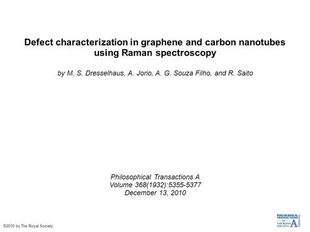 Defect characterization in graphene and carbon nanotubes using Raman spectroscopy by M. S. Dresselhaus, A. Jorio, A. G. Souza Filho, and R. Saito Philosophical.