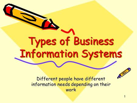 1 Types of Business Information Systems Different people have different information needs depending on their work.