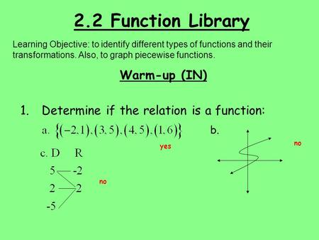 2.2 Function Library Learning Objective: to identify different types of functions and their transformations. Also, to graph piecewise functions. Warm-up.