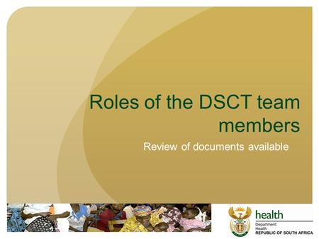 Roles of the DSCT team members Review of documents available.