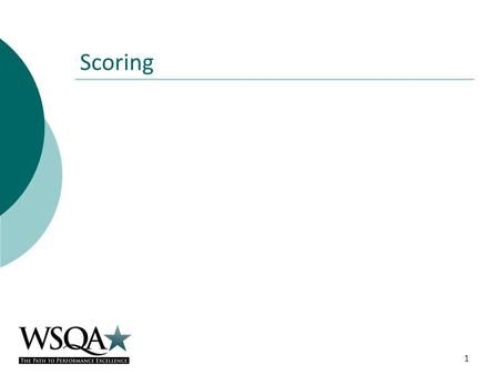 Scoring 1. Scoring Categories 1 – 6 (Process Categories) Examiners select a score (0-100) to summarize their observed strengths and opportunities for.