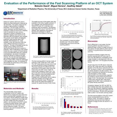 Evaluation of the Performance of the Fast Scanning Platform of an OCT System Malcolm Heard 1, Miguel Herrera 1, Geoffrey Ibbott 1 1 Department of Radiation.