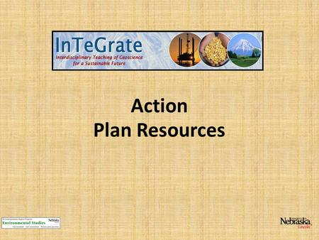 Action Plan Resources. Intersections of geoscience and sustainability.