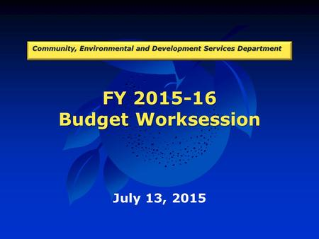FY 2015-16 Budget Worksession Community, Environmental and Development Services Department July 13, 2015.