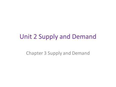 Unit 2 Supply and Demand Chapter 3 Supply and Demand.