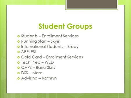 Student Groups  Students – Enrollment Services  Running Start – Skye  International Students – Brady  ABE, ESL  Gold Card – Enrollment Services 