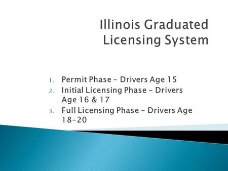 1. Permit Phase – Drivers Age 15 2. Initial Licensing Phase – Drivers Age 16 & 17 3. Full Licensing Phase – Drivers Age 18-20.