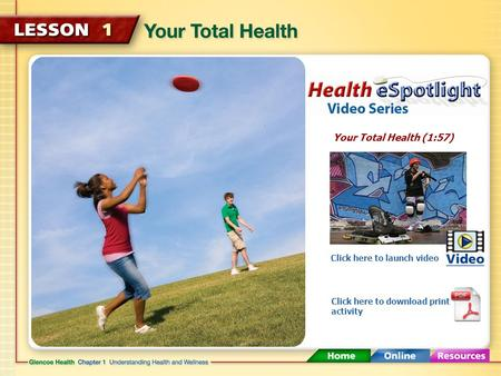 Your Total Health (1:57) Click here to launch video Click here to download print activity.