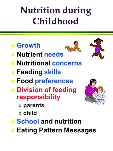 L Growth l Nutrient needs l Nutritional concerns l Feeding skills l Food preferences l Division of feeding responsibility »parents »child l School and.