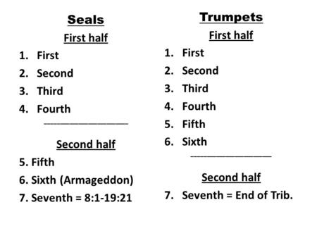 Seals First half 1.First 2.Second 3.Third 4.Fourth ___________________________ Second half 5. Fifth 6. Sixth (Armageddon) 7. Seventh = 8:1-19:21 Trumpets.