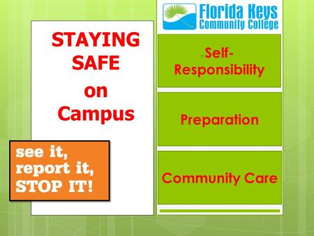 STAYING SAFE on Campus Self- Responsibility Preparation Community Care.