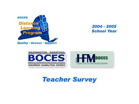 HFM SAN Distance Learning Project Teacher Survey 2004 – 2005 School Year... BOCES Distance Learning Program Quality Access Support.