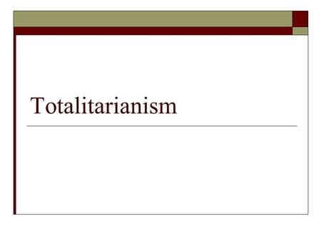 "Totalitarianism. Introduction SSummary: After Lenin dies, Stalin seizes power and transforms the Soviet Union into a totalitarian state. ""Stalin, Lenin's."
