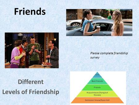 Friends Different Levels of Friendship Please complete friendship survey.
