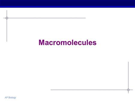 AP Biology Macromolecules. AP Biology Macromolecules  Smaller organic molecules join together to form larger molecules Macromolecules  4 major classes.