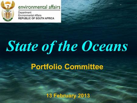 State of the Oceans Portfolio Committee 13 February 2013.