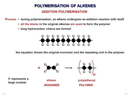 POLYMERISATION OF ALKENES Process during polymerisation, an alkene undergoes an addition reaction with itself all the atoms in the original alkenes are.