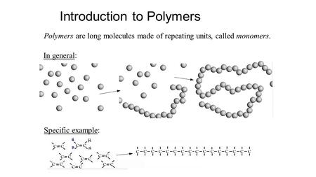 Introduction to Polymers Polymers are long molecules made of repeating units, called monomers. In general: Specific example: