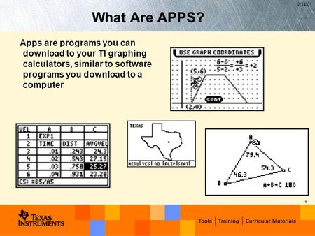 2/14/01 1 What Are APPS? Apps are programs you can download to your TI graphing calculators, similar to software programs you download to a computer.