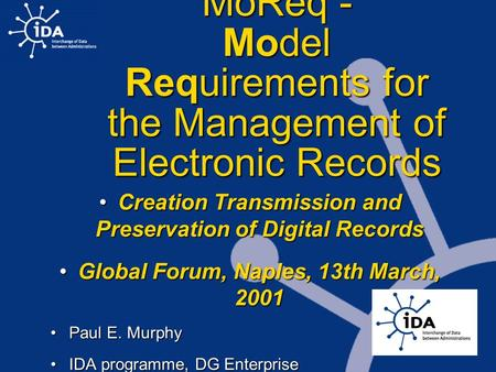 MoReq - Model Requirements for the Management of Electronic Records Creation Transmission and Preservation of Digital RecordsCreation Transmission and.