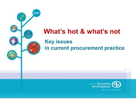 Key issues in current procurement practice What's hot & what's not.