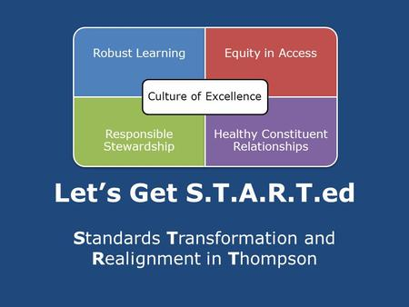Let's Get S.T.A.R.T.ed Standards Transformation and Realignment in Thompson.
