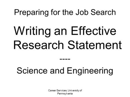 Crafting The Research Statement Jim Pawelczyk PhD Noll