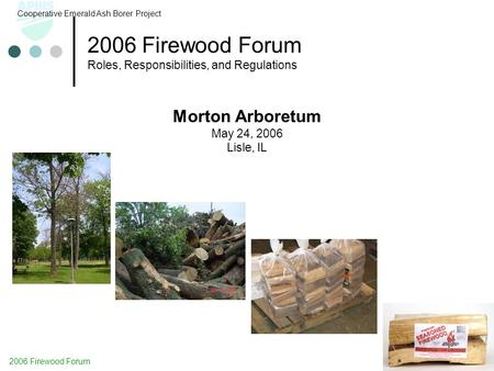 2006 Firewood Forum Roles, Responsibilities, and Regulations Cooperative Emerald Ash Borer Project Morton Arboretum May 24, 2006 Lisle, IL 2006 Firewood.