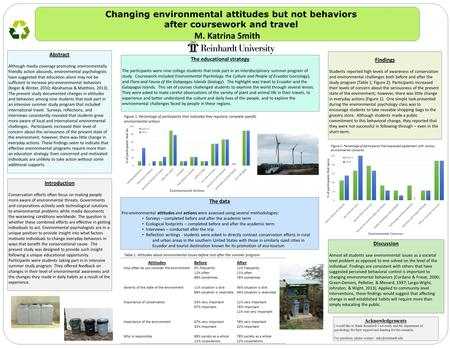 Changing environmental attitudes but not behaviors after coursework and travel M. Katrina Smith The data Pro-environmental attitudes and actions were assessed.