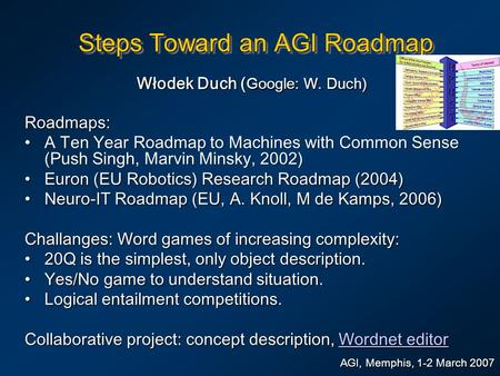 Steps Toward an AGI Roadmap Włodek Duch ( Google: W. Duch) AGI, Memphis, 1-2 March 2007 Roadmaps: A Ten Year Roadmap to Machines with Common Sense (Push.