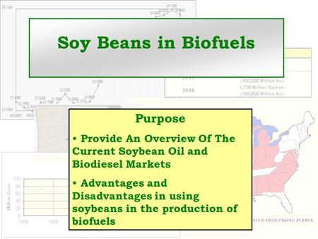 Soy Beans in Biofuels Purpose Provide An Overview Of The Current Soybean Oil and Biodiesel Markets Advantages and Disadvantages in using soybeans in the.