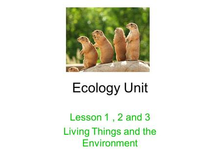 Ecology Unit Lesson 1, 2 and 3 Living Things and the Environment.