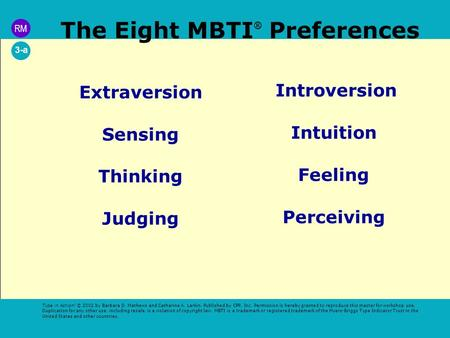 The Eight MBTI ® Preferences Extraversion Sensing Thinking Judging Introversion Intuition Feeling Perceiving Type in Action! © 2002 by Barbara D. Mathews.