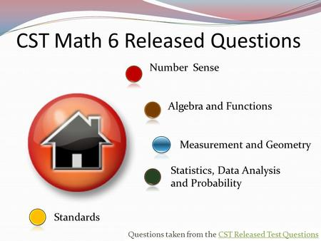 Number Sense Standards Measurement and Geometry Statistics, Data Analysis and Probability CST Math 6 Released Questions Algebra and Functions 0 Questions.