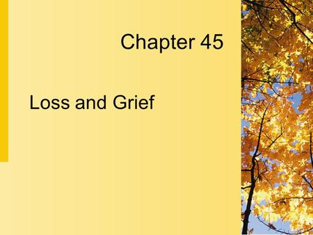 Chapter 45 Loss and Grief. 45-2 Copyright 2004 by Delmar Learning, a division of Thomson Learning, Inc. Loss  Loss is any situation in which a valued.