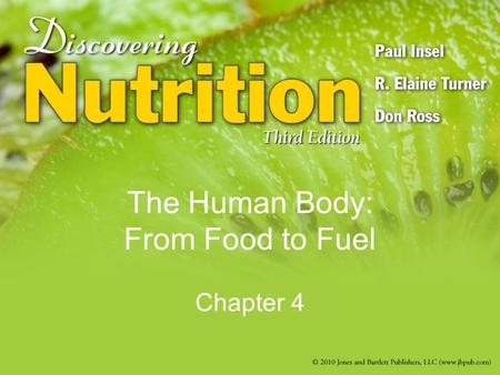The Human Body: From Food to Fuel Chapter 4. The Gastrointestinal Tract Organization –Mouth  anus –Accessory organs Salivary glands, liver, pancreas,