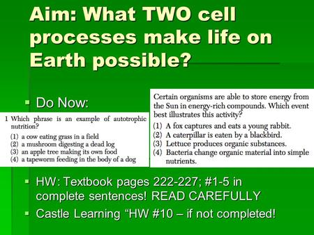 " Do Now:  HW: Textbook pages 222-227; #1-5 in complete sentences! READ CAREFULLY  Castle Learning ""HW #10 – if not completed! Aim: What TWO cell processes."