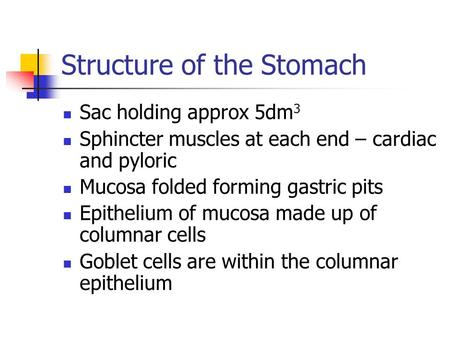 Structure of the Stomach Sac holding approx 5dm 3 Sphincter muscles at each end – cardiac and pyloric Mucosa folded forming gastric pits Epithelium of.
