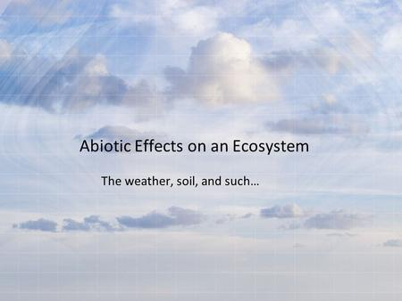 Abiotic Effects on an Ecosystem The weather, soil, and such…