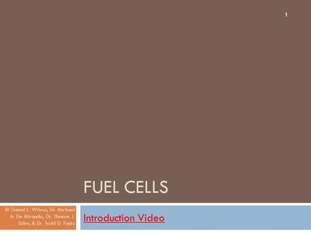 Fuel Cells Introduction Video