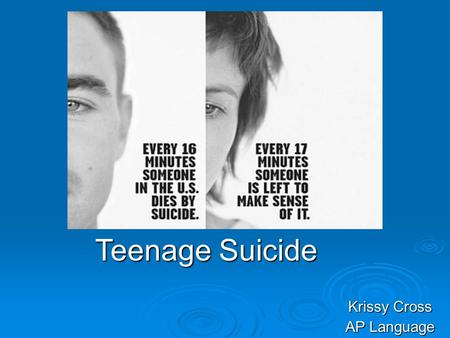 Krissy Cross AP Language Teenage Suicide. Background Information  This is an advertisement of teenagers at risk of committing suicide.  Types of teens.