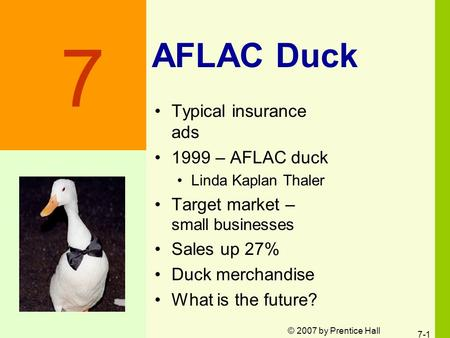 © 2007 by Prentice Hall 7-1 AFLAC Duck Typical insurance ads 1999 – AFLAC duck Linda Kaplan Thaler Target market – small businesses Sales up 27% Duck merchandise.