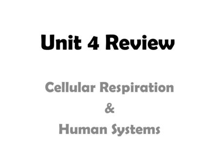 Unit 4 Review Cellular Respiration & Human Systems.