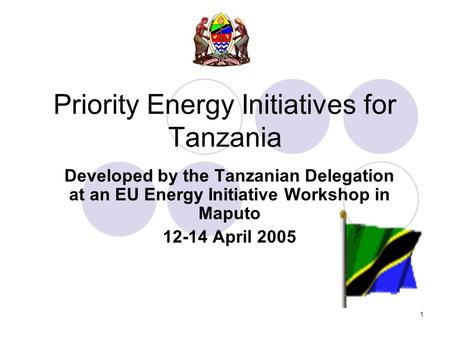1 Priority Energy Initiatives for Tanzania Developed by the Tanzanian Delegation at an EU Energy Initiative Workshop in Maputo 12-14 April 2005.