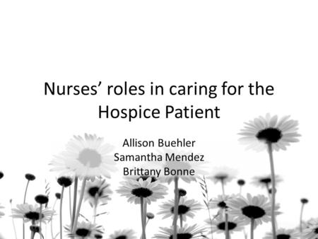 Nurses' roles in caring for the Hospice Patient Allison Buehler Samantha Mendez Brittany Bonne.