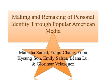 Topic: The Influences of Popular American Media on Personal Identity Theme: Popular American Media Concept: Personal Identity Topic: The Influences of.