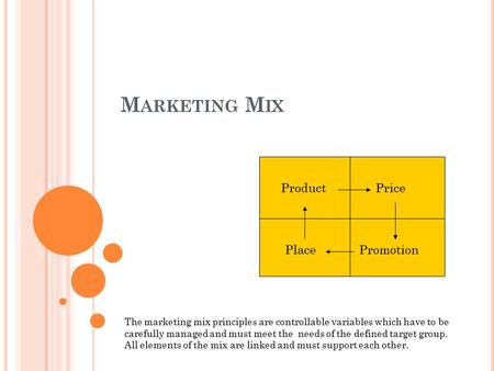 M ARKETING M IX ProductPrice PlacePromotion The marketing mix principles are controllable variables which have to be carefully managed and must meet the.